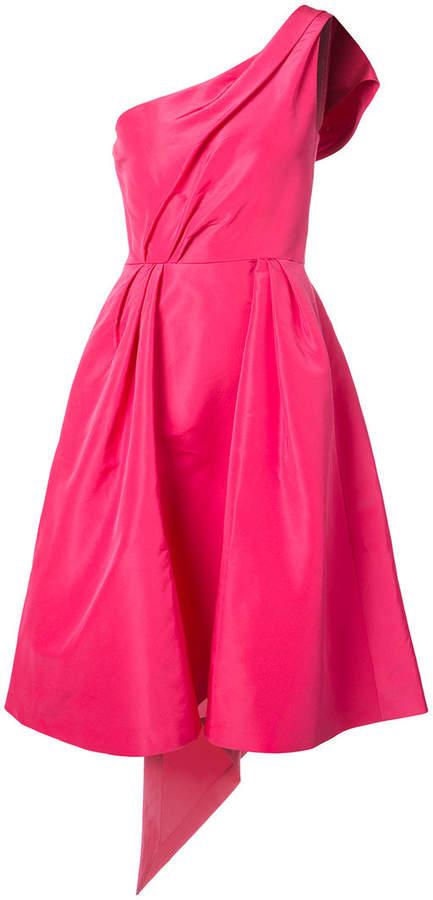Carolina Herrera one-shoulder bow back faille dress