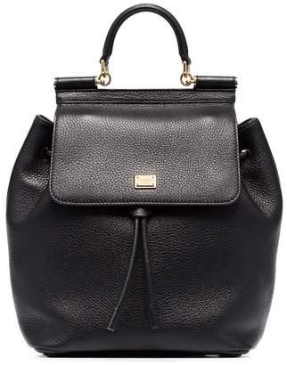 Dolce & Gabbana black Sicily leather backpack