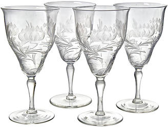Art Nouveau Crystal Wine Glasses