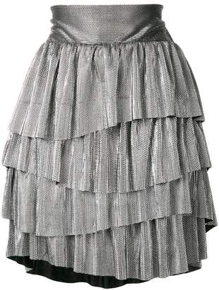 Christian Pellizzari metallic ruffled mini skirt