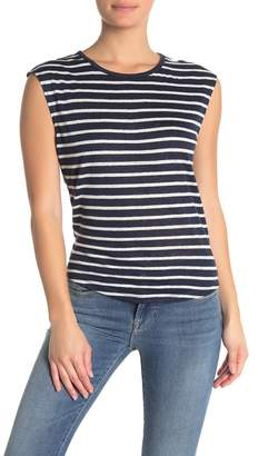 Frame Crew Neck Stripe Print Muscle T-shirt