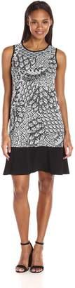 MSK Women's Sleevelss Peacock Print Body Black Flounce Hem, White, L