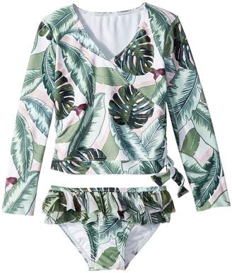 Seafolly Palm Beach Long Sleeve Ballet Rashie Set Girl's Swimwear Sets