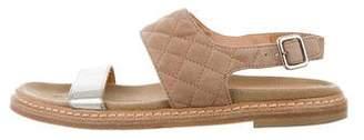 Aquatalia Leather Quilted Sandals