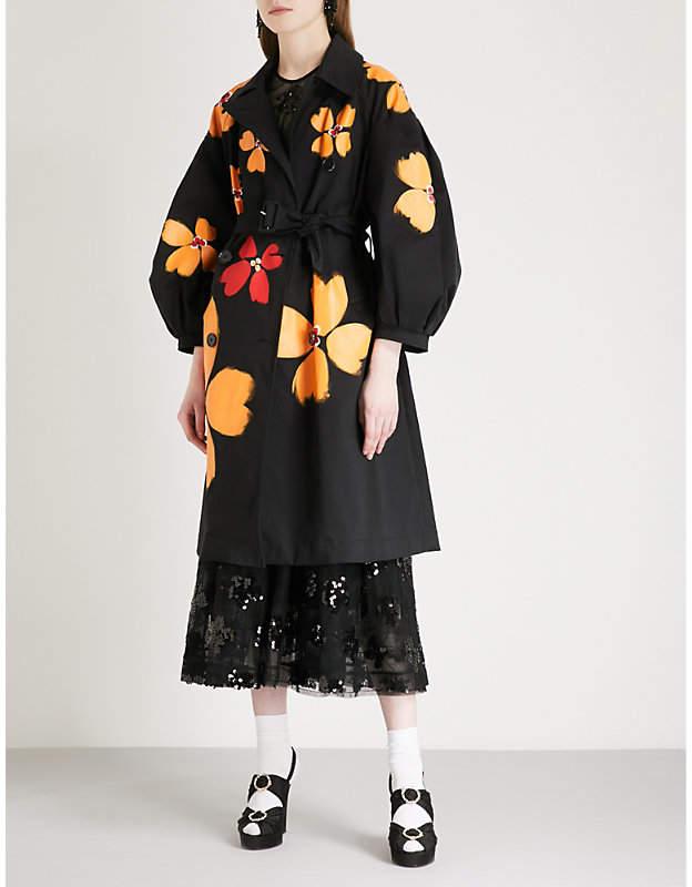 Painted floral-print belted gabardine coat