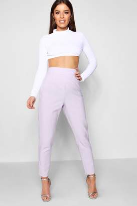 boohoo Petite Pastel Check High Waisted Woven Trousers