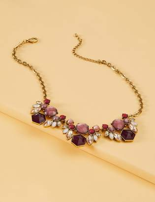 Lane Bryant Mauve Floral Stone Statement Necklace