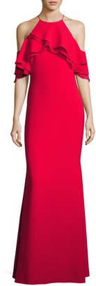 Badgley Mischka Ruffle-Trim Ponte Popover Gown, Red