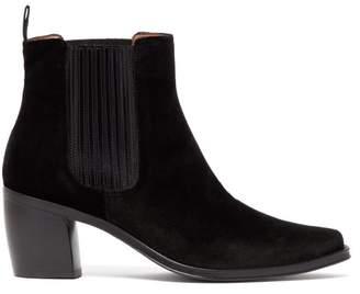 ALEXACHUNG Block Heel Velvet Ankle Boots - Womens - Black