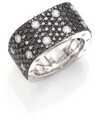 Roberto Coin Pois Moi Black/White Diamond& 18K White Gold Ring