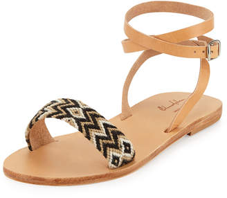 Neiman Marcus Elina Lebessi Aliki Woven Ankle-Wrap Flat Sandals, Black/Taupe