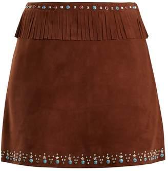 Miu Miu Stud-embellished fringed suede mini skirt