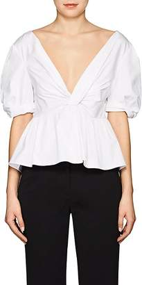 A.L.C. Women's Moritz Stretch-Cotton Poplin Peplum Top