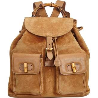 Gucci Vintage Bamboo Brown Suede Backpacks 05c6242a1dac6