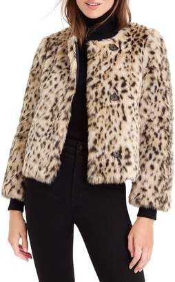 J.Crew J. Crew Crop Faux Snow Leopard Fur Coat