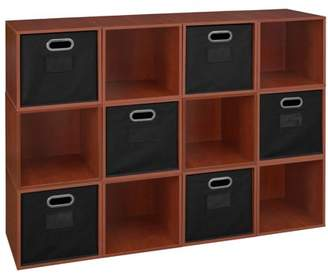 Cubo Regency Niche Storage Set of 12 Cubes 6 Canvas Bins- Cherry/Black