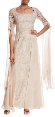 Rickie Freeman For Teri Jon Draped Lace Scoop-Neck Gown