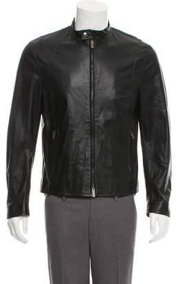 Armani Collezioni Leather Cafe Racer Jacket