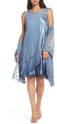 Women's Komarov Embellished Chiffon & Charmeuse Shift Dress With Shawl $418 thestylecure.com