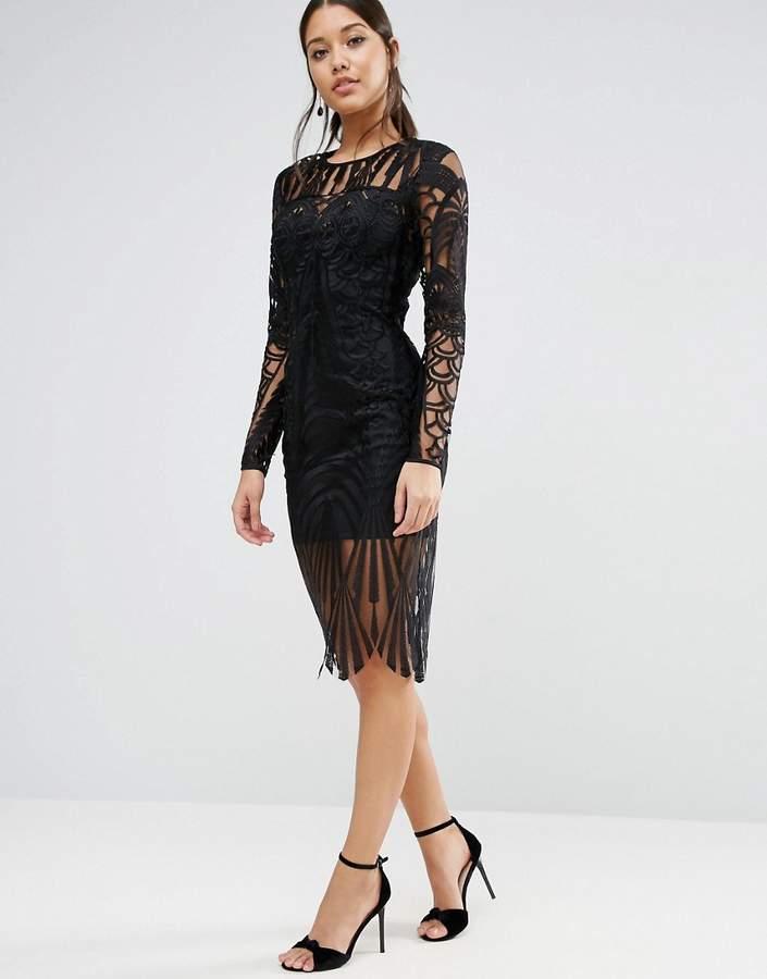 AsosASOS Lace Placed Long Sleeve Midi Dress