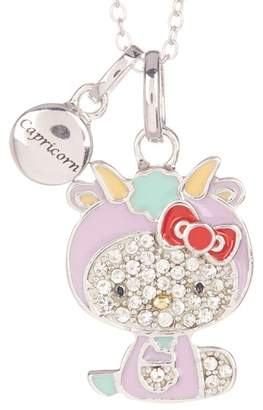 Hello Kitty Zodiac Sterling Silver Pave Crystal Enamel Full Capricorn Pendant Necklace