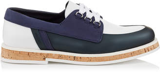 FINN Dark Pavone Nubuck and Metallic Rubber Leather Boat Shoes