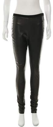 Calvin Klein Jeans Leather Corduroy-Trimmed Leggings