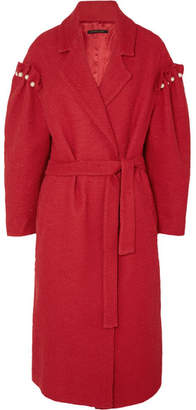 Mother of Pearl Webb Faux Pearl-embellished Cotton-tweed Coat - Red