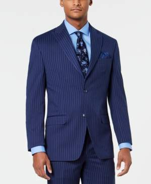 Sean John Men's Classic-Fit Stretch Blue/Pink Pinstripe Suit Jacket