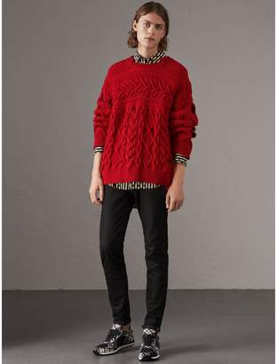 Burberry Aran Knit Cashmere Wool Sweater