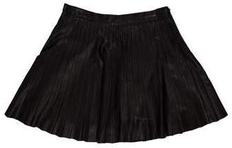 Theory Pleated Leather Mini Skirt