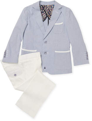 Isaac Mizrahi Stripe Suit Jacket And Tonal Trouser Set