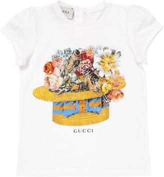 Gucci Floral Hat Print Cotton Jersey T-Shirt