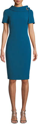 Badgley Mischka Tie-Neck Short-Sleeve Sheath Dress