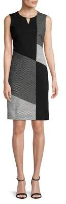 Calvin Klein Jacquard Mix Keyhole Sheath Dress