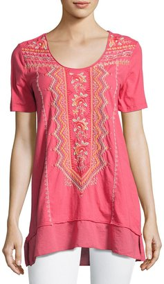 JWLA For Johnny Was Floral-Embroidered Flounce Tee, Coral $99 thestylecure.com