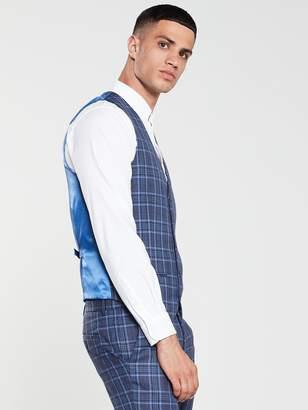 Bright Blue Check Waistcoat