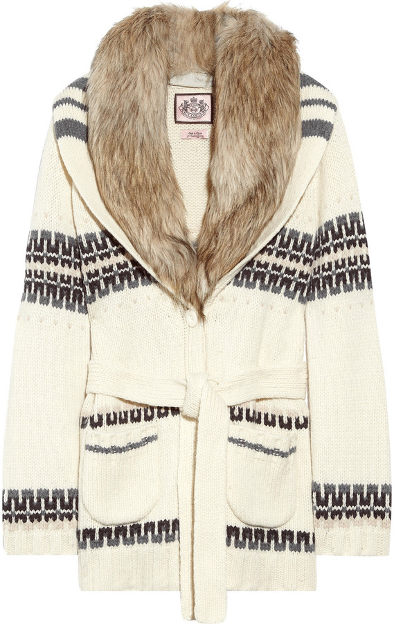 Juicy Couture Faux fur-trimmed wool-blend cardigan