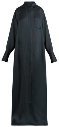 The Row Siena Crepe Shirtdress - Womens - Dark Green