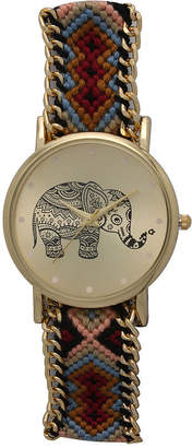 OLIVIA PRATT Olivia Pratt Womens Maroon Braided Elephant Print Dial Strap Watch 14811