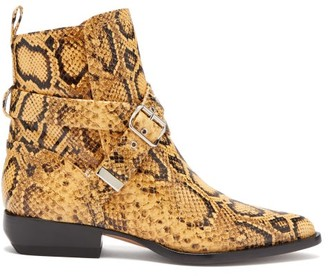 Chloé Python Effect Leather Ankle Boots - Womens - Black Yellow