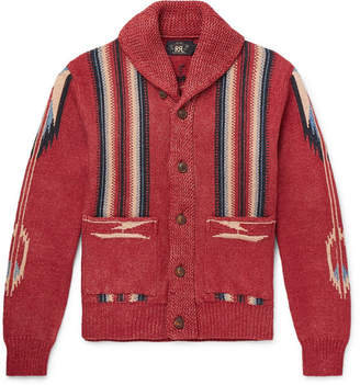 RRL Shawl-Collar Cotton, Linen And Silk-Blend Jacquard Cardigan