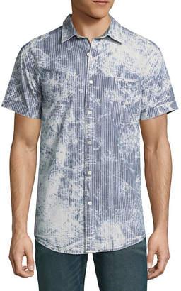 Decree Short Sleeve Stripe Button-Front Shirt