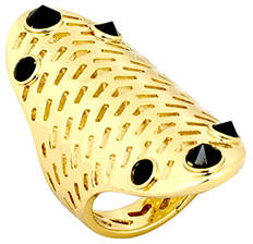 House Of Harlow 1960 Geometric Jet Pave Ring Gold