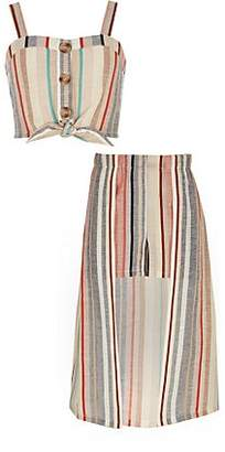 River Island Girls pink stripe crop top and skort outfit