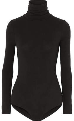 Madewell Renay Stretch Cotton-blend Jersey Turtleneck Bodysuit - Black