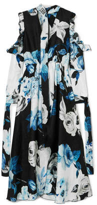 Off-White Cold-shoulder Floral-print Silk-moire Midi Dress - Blue
