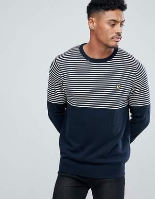 Lyle & Scott half breton stripe sweater in navy