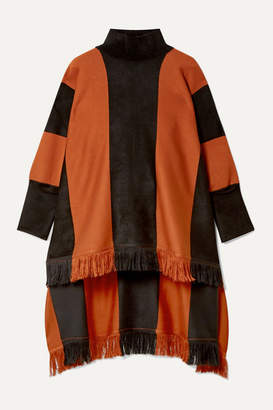 Oscar de la Renta Paneled Silk-blend Turtleneck Poncho - Orange