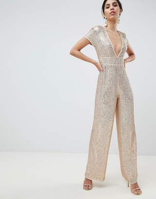 Asos Design DESIGN Embellished Plunge Jumpsuit With Wide Leg